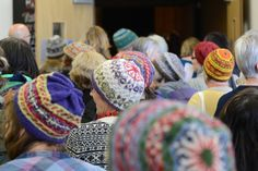 Awash with fair-isle hats at the opening of Wool Week 2014 at Mareel, Shetland. From the Shetland Times. Fair Isle Knitting, Hand Knitting, Shetland Wool Week, Crafty Fox, Donegal, Cool Hats, Sheep Wool, Knit Beanie, Jumpers