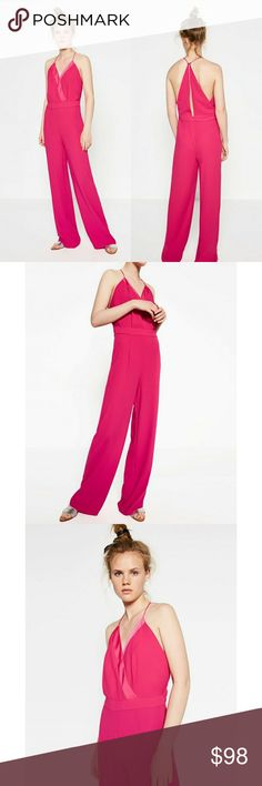 Zara pink jumpsuit Brand new with out tags. Just hanging in my closet.  Sold out everywhere. Hard to find piece. Zara Pants Jumpsuits & Rompers