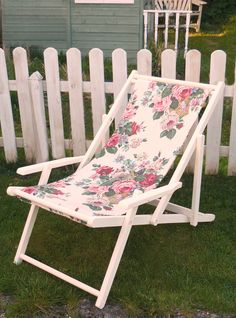 "One of our later deckchairs...this one was primed and painted first. Unless you have painted a deckchair you have no idea how hard it is! (much like garden trellis) I made a ""sling"" seat for it out of heavy duty canvas for strength and covered it in antique floral linen from the US; a time consuming job but really worth the effort for a ""one off something special""!......Sold"
