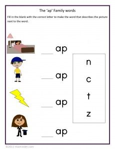Free phonics lessons for the -ap family of words. Includes a matching game, a fill-in-the-blanks worksheet and a printable phonics booklet.