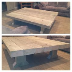 Large Unsanded Pine Coffee Table Solid Wooden Sleeper Coffee Table