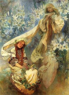 Alphonse Mucha ~ Madonna of the Lilies, 1905