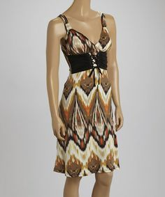 Another great find on #zulily! Brown & Coral Ikat Empire-Waist Dress #zulilyfinds