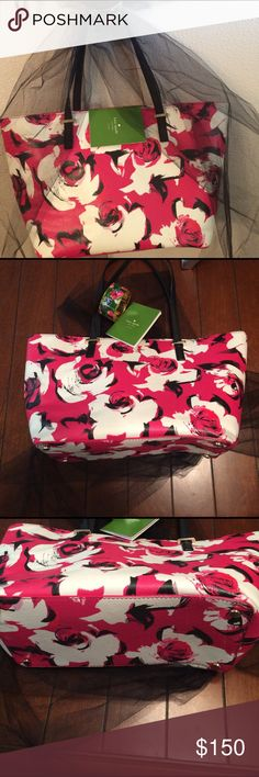 Kate spade ♠️ authentic purse 1 day sale Pink black very light cream almost white flowered euc. kate spade Bags Totes