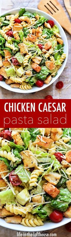 It's this time of year salads are my go-to for lunches and dinners. Honestly, I eat them year round but during the summer they become what I eat almost daily. There are so many amazing and flavorful salads out there but this CHICKEN CAESAR PASTA SALAD has Lunch Recipes, Summer Recipes, Pasta Recipes, Chicken Recipes, Dinner Recipes, Cooking Recipes, Healthy Recipes, Soup Recipes, Chicken Appetizers