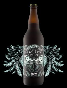 """Now THIS is some seriously intense design work! The Hired Guns Creative team has delivered another """"stop in your tracks"""" beer branding and packaging design for Driftwood Brewery's new Obscuritas Dark Sour brew. Beverage Packaging, Bottle Packaging, Brand Packaging, Design Packaging, Coffee Packaging, Food Packaging, Craft Beer Labels, Wine Labels, Beer Label Design"""