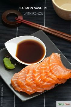 Salmon Sashimi with Ponzu. Salmon Sashimi with Ponzu - melt in the mouth salmon served with a refreshing citrus based sauce. Sushi Recipes, Entree Recipes, Asian Recipes, Fun Baking Recipes, Cooking Recipes, Dessert Sushi, Salmon Sashimi, Homemade Sushi, Le Chef