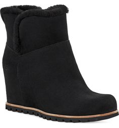 UGG® Seyline Waterproof Genuine Shearling Bootie (Women) | Nordstrom Winter Dress Outfits, Cute Winter Outfits, Urban Chic Fashion, Winter Wear, Wedge Heels, Black Suede, Chelsea Boots, Uggs, Winter Fashion