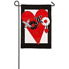 Evergreen Valentine's Heart Applique Garden Flag, 12.5 x 18 inches