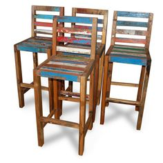 Tall bar chairs made from reclaimed boat timber. Nautical, recycled, reclaimed, boatwood, boat furniture.