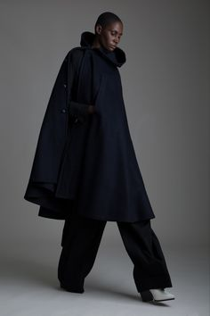 Vintage Military Cape, Hermes Black Wool Shirt and Yohji Yamamoto Pants. Designer Clothing Dark Minimal Street Style Fashion
