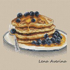"""Cross stitch design """"Pancakes with honey"""" #sa_stitch #sa_pattern #pattern"""