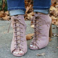 Lace Up Chunky Peep Toe Booties