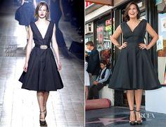 Mariska Hargitay In a black sleeveless Lanvin Fall 2013 dress with Lanvin ankle-strap shoes