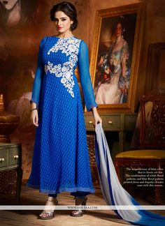 Glorious blue chiffon anarkali suit designed with resham, zari, stone, lace and patch border work. Available with churidar and dupatta.(Slight variation in color is possible.)...