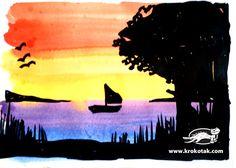 Creatives siluetes sobre un full de ratlles de colors / tot nens Sunset Silhouette, Silhouette Art, Silhouette Drawings, Creative Activities, Art Activities, Arts Ed, Summer Art, Elementary Art, Art Lessons