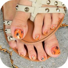 Orange pedicure by Creathy from Nail Art Gallery
