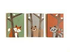 This hand painted rustic nursery set of woodland creatures on wood will make the perfect addition to your little ones woodland nursery or forest animals nursery! This set can be customized however youd like. Please feel free to contact me with any questions or requests. Woodland Nursery Art - Set of 3 Each painting measures 8x 12, 1/2 thick on stained oak. The trees are left unpainted, showcasing the natural grain and texture of the wood, complimenting the woodland animals nursery theme ...