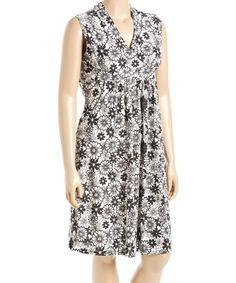 Look what I found on #zulily! Black & White Floral Pocket Surplice Dress - Plus #zulilyfinds