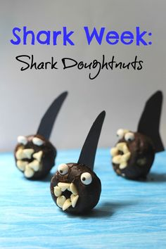 Seriously awesome Shark Week Doughnut Bite Snacks for kids. These are incredibly clever and would make great birthday party treats for my son and his class!