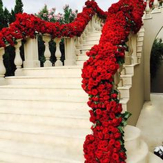 Stunning floral wedding staircase decor with red roses Wedding Goals, Wedding Themes, Wedding Venues, Wedding Planning, Wedding Day, Floral Wedding, Wedding Bride, Red Wedding Decorations, Red Rose Wedding