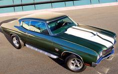 1970 Baldwin motion chevelle green and white hood custom
