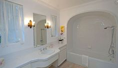 "The restroom...love the arched area over the tub. The ""It's Complicated"" hacienda as seen on the great blog Hooked on Houses."