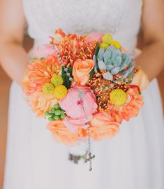bright fiesta bouquet with peonies, roses, succulents + billy balls