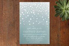 Winter Wedding Invitations | Winter Wedding Stationery - pretty green and white wedding invitations