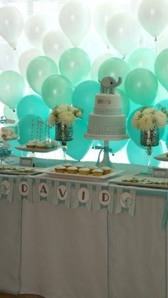 CW Shower - Balloon ombre baby boy shower decorations!