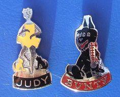 Judy & Bunty, girl's comic fan-club badges. Sixties