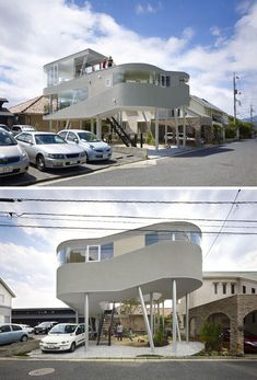A single arcing gesture takes this stunning house from two stories to three, with remarkable views out over the neighbors in all directions. Set in Hiroshima and designed by Kimihiko Okada, the building was shaped by concerns for security and the eventual goal of having a little ground-level shop below. As a result, the dwelling itself sits on tall stilts with a series of slotted windows to let in light (and provide views) in accordance with the needs of each space.