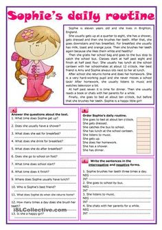 An elementary text about a girl's daily routine followed by three reading…