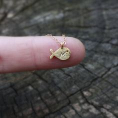 Whale Initial Necklace  Personalized  Tiny Gold by sevgicharms, $28.00