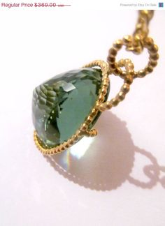 SALE Gorgeous Green amethyst set in green gold on Etsy, $332.10
