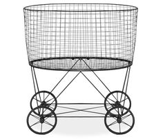 Vintage Laundry Basket - Vintage metal laundry basket with wheels.Shipping by mail is not currently available for this item.