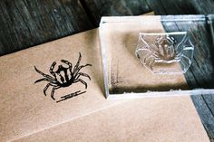 Crab Stamp - Crab Rubber Stamp - Seafood Rubber Stamp, Ocean Rubber Stamp