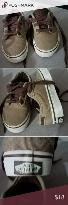 """Vans """"off the wall"""" boys shoes NWOB Tan , brown and white AUTHENTIC VANS, """" off the wall style"""" never worn, hidden in closet until they got outgrown. Canvas ,leather, padded tongue for comfort, made from leather stamped with logo. Vans Shoes Sneakers"""