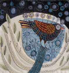 Bird in Tree machine embroidery by NancyNicholsonDesign on Etsy, £130.00
