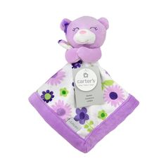"""Carter's Purple Bear Security Blanket with Plush - Triboro Quilt Co. - Babies """"R"""" Us"""