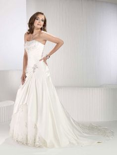 A-line strapless chapel train charming satin with ruffle wedding dress. I love how it fits, and that it looks like one dress instead of two separate pieces
