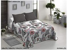 The Best Fashion House Colcha Bouti Modelo Guyana + funda cojin (2 colores y 3 tamaños disponibles) (C91, 235 x 270 cm) para cama de 135 cm: Amazon.es: Hogar