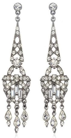 Ben-Amun Linear Deco Earrings. (Contemporary but Art Deco-style.) Via Charm and Chain.