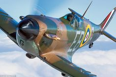 Ceremonial: The Battle of Britain memorial flight's Merlin powered Mk IIa Spitfire P7350, complete with brown and green camouflage