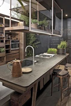 "you must read full article to get the proper inspiration to decorate and design your Industrial Kitchen Design. So Checkout Inspirational Industrial Kitchen Design And Ideas"" Stylish Kitchen, New Kitchen, Kitchen Dining, Kitchen Decor, Natural Kitchen, Kitchen Island, Rustic Kitchen, Smart Kitchen, Earthy Kitchen"