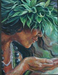 """""""Ho' okalakupua"""" (Magic) by Kathy Ostman-Magnusen Hawaiian Tribal, Hawaiian Art, Hawaiian Tattoo, Polynesian Art, Polynesian Culture, Hawaiian Goddess, Hawaii Painting, Mode Poster, Hawaiian Dancers"""