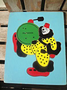 Playskool Wooden Puzzle Clown with Drum by EKRdoodleVintage, $12.00