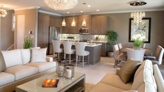 "Contemporary Great Room with Ultracraft Destiny Slab Cabinets, Paint1, Aida 17 3/4"" Wide Pouring Crystal Ceiling Light"