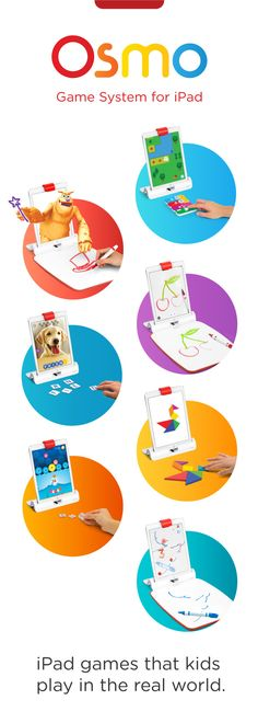 """Osmo game system encourages creative thinking and social interaction by expanding gameplay beyond the screen, turning any physical object into a digitally connected game piece. All five games can be downloaded for free from the iTunes App store. Search for """"Osmo Newton"""", """"Osmo Masterpiece"""", """"Osmo Tangram"""", """"Osmo Words"""", """"Osmo Numbers"""" and """"Osmo Coding""""."""