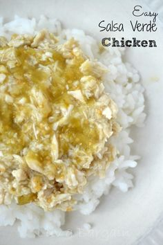 Simply baking chicken covered in salsa verde, served over rice or quinoa, makes for one of the easiest dinners ever.